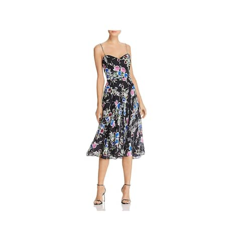 Milly Womens Emily Cocktail Dress Silk Georgette - Black - 12