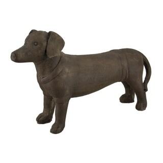 Brown Stone Finish Ceramic Standing Dachshund Dog Statue 14 Inch