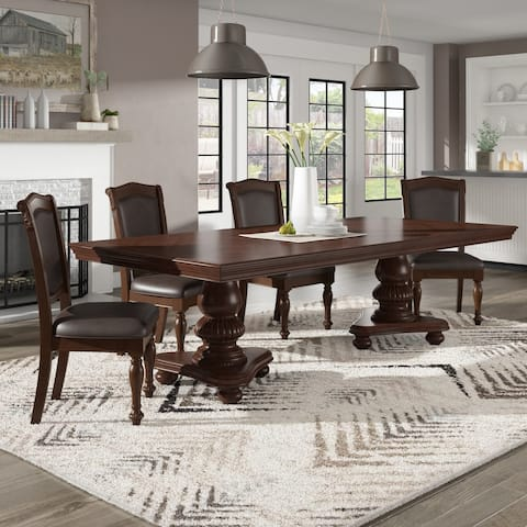 Constantinople Double Pedestal Dining Table with Extending Leaf by iNSPIRE Q Classic - Dining Table