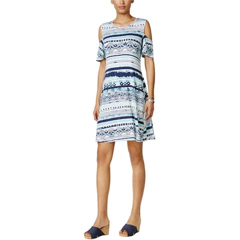 Style & Co. Womens Flutter Sleeve Shift Dress, Blue, Small
