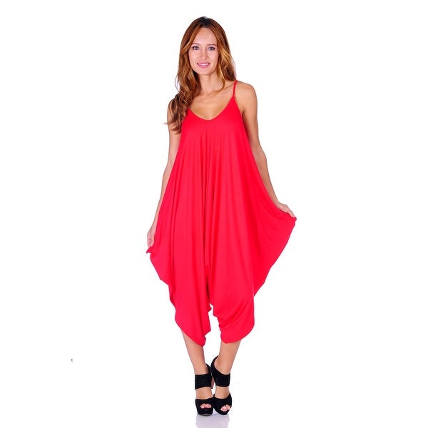 Simply Ravishing Women's Solid Spaghetti Strap Loose Fit Harem Jumsuits (Size: Small - 3X)