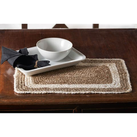 """Bleached Bordered Natural Jute Place Mat - 1'-1"""" X 1'-7"""""""