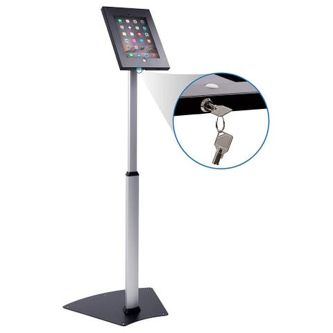 Mount-It! Anti-Theft Floor Stand for Apple iPad 2, 3, 4, Air, Height Adjustable Metal Enclosure with Locking, Tilting (MI-3783)