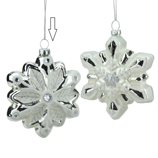 """4"""" Silver and White Snowflake with Faux Gems Glass Christmas Ornament"""