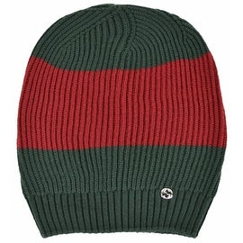 New Gucci Men's 310777 Wool Green Red Interlocking GG Slouchy Beanie Ski Hat