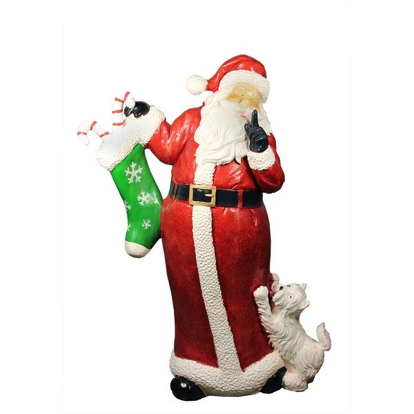 "48.5"" Commercial Size Santa Claus with Puppy Dog Christmas Outdoor Decoration - RED"