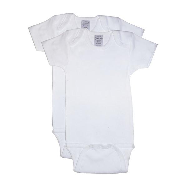 Bambini Baby White Interlock Short Sleeve One Piece 2-Pack