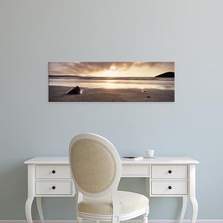 Easy Art Prints Panoramic Images's 'Sunset over the sea, Whitesand Bay, Pembrokeshire, Wales' Premium Canvas Art