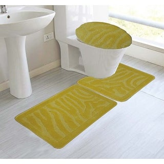 Alexandra 3-Piece Mega Bath Mat Set, Animal Stripe Design, Yellow
