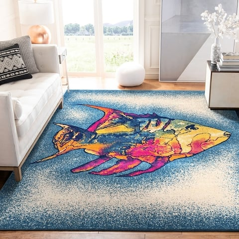 Tropical Coral Fish Multicolored Indoor/Outdoor Rug