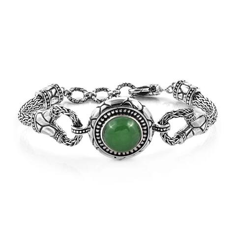 Sterling Silver Jade Bracelet with Toggle Clasp Size 7.5 Inch Ct 10 - Bracelet 7.5''