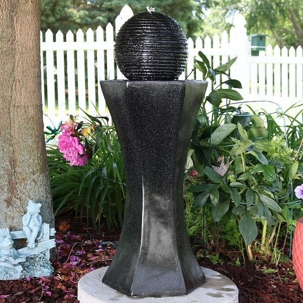 Sunnydaze Black Pedestal & Ball Solar on Demand Water Fountain - 31 Inch Tall