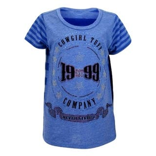 Cowgirl Tuff Western Shirt Girls Short Sleeve Tee Cobalt Blue 100115|https://ak1.ostkcdn.com/images/products/is/images/direct/4e8b5b61c79e67930cc90a14bed3b4ea7b50b608/Cowgirl-Tuff-Western-Shirt-Girls-Short-Sleeve-Tee-Cobalt-Blue-100115.jpg?impolicy=medium
