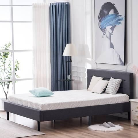 Upholstered Platform Linen Bed Frame Wood Slat Support with Headboard Full/Queen