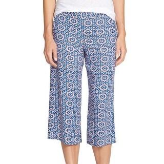 Ella Moss NEW Blue Women's Size Large L Capris Cropped Printed Pants