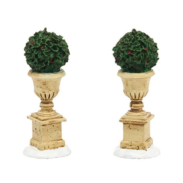 "Department 56 Snow Village ""Tudor Gardens Holly Urns"" Accessory #4038850"