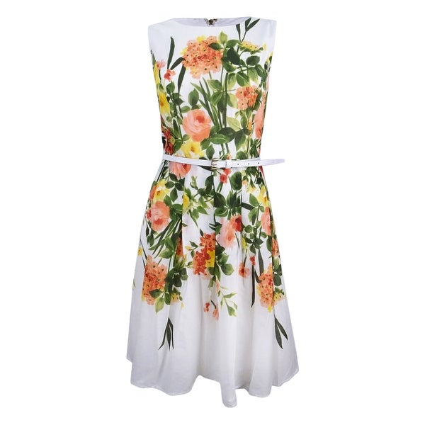 b7e4754109e7 Tommy Hilfiger Women's Floral-Print Belted Fit & Flare Dress