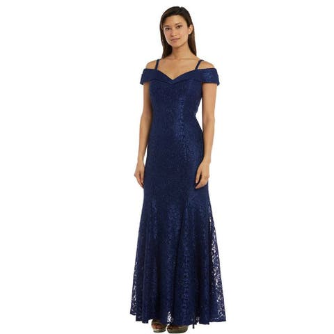 R & M Richards Lace Metallic Off-the-Shoulder Gown, Marine,12P