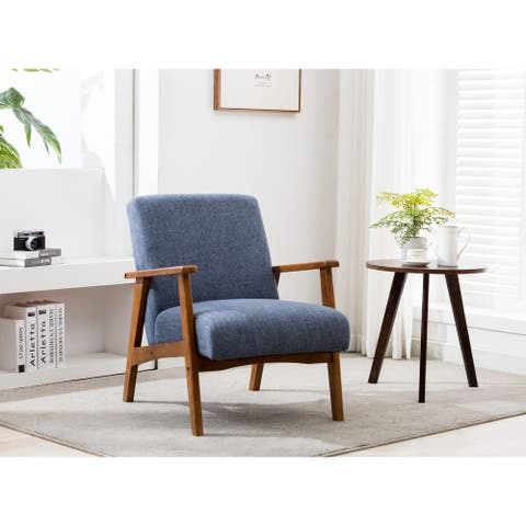 Porthos Home Layla Accent Chair - Wooden Legs & Hemp Fabric Upholstery