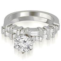 1.05 cttw. 14K White Gold Round and Baguette Diamond Bridal Set