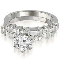 1.30 cttw. 14K White Gold Round and Baguette Diamond Bridal Set