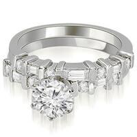 1.30 cttw. 14K White Gold Round and Baguette Diamond Bridal Set