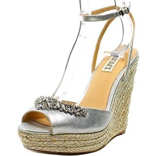 Badgley Mischka Annabel Women  Open Toe Leather Silver Wedge Sandal