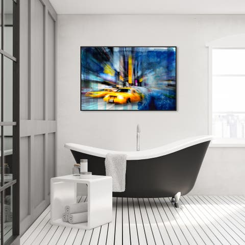 Oliver Gal 'Cab Blues' Cities and Skylines Wall Art Framed Canvas Print United States Cities - Yellow, Blue