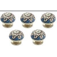 1.6 in. Flowers Blue & Cream Cabinet Knob, Pack of 5