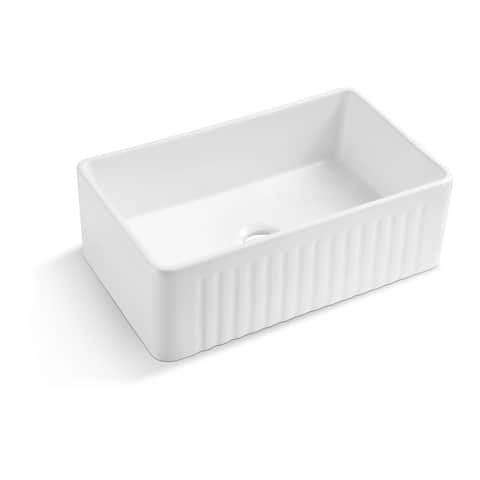 Koozzo Farmhouse / Apron Front Ceramic Fireclay Kitchen Sink
