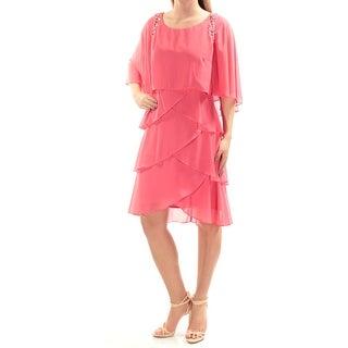 Womens Pink Dolman Sleeve Knee Length Layered Wear To Work Dress Size: 2