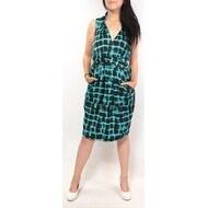 RACHEL ROY Womens Teal Geometric Sleeveless Knee Length A-Line Dress Size: 2