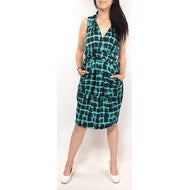 RACHEL ROY Womens Teal Geometric Sleeveless Knee Length A-Line Dress Size: 2