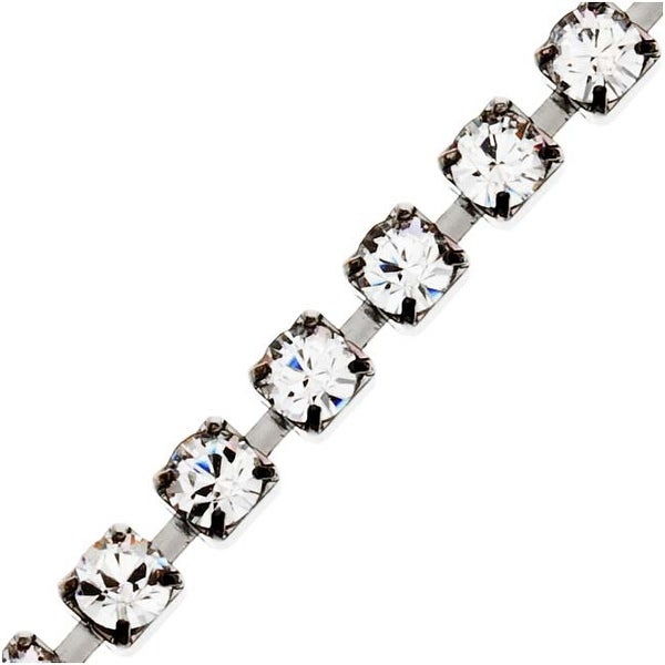 SWAROVSKI ELEMENTS Gun Metal Plated Rhinestone Cup Chain 24PP Crystal - BY FT.