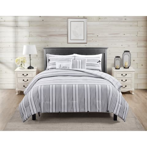 Farmhouse Reversible Stripe Comforter Set