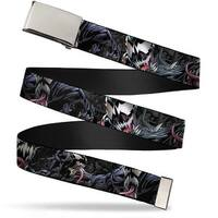 "Marvel Universe Blank Chrome 1.0"" Buckle Venom Poses Close Up Webbing Web Web Belt 1.0"" Wide - S"