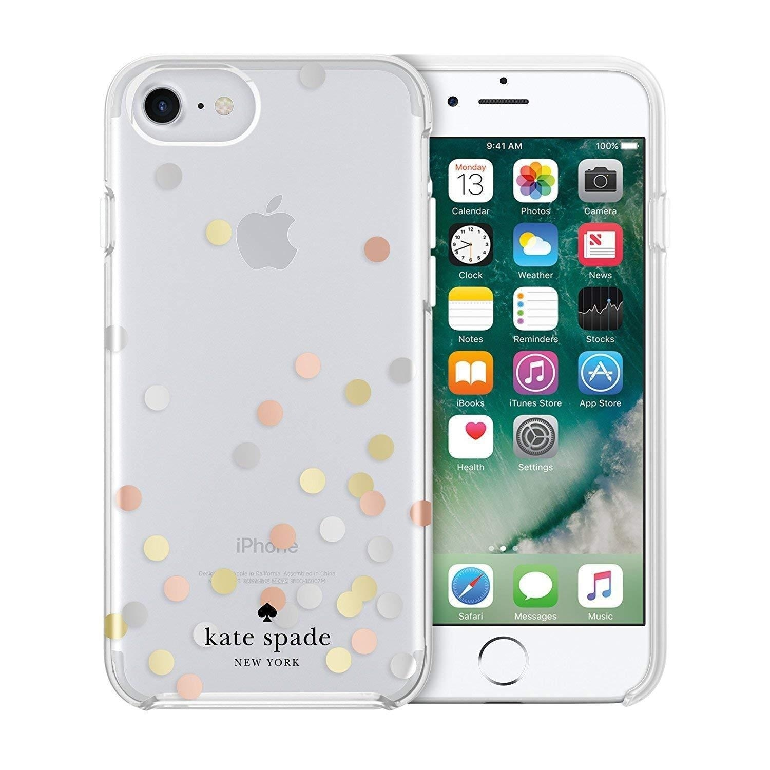 brand new 27ab4 3a542 Kaete Spade New York Confetti Dot Protective Case for iPhone 8 / iPhone 7 /  iPhone 6, Silver/Gold/Rose Gold