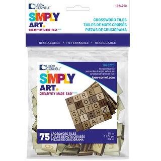 Simply Art Wood Letter Tiles 75/Pkg-Brown