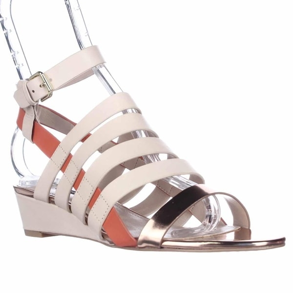 French Connection Winona Strappy Wedge Sandals, Barley Sugar/Rose