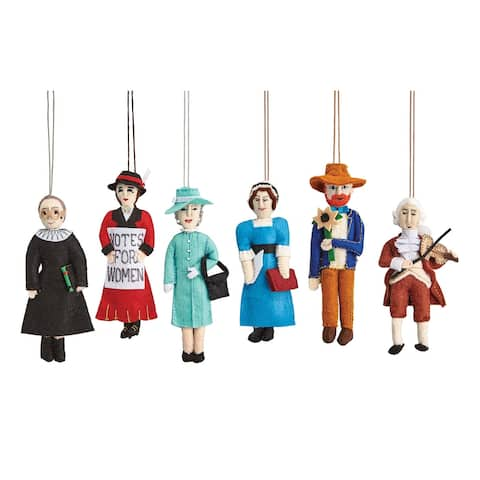 Felt Character Ornaments - RGB, Austen, Beethoven, Mozart, Van Gogh, The Queen