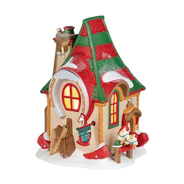 """Department 56 North Pole Toy Land """"North Pole Hobby Horse Barn"""" Porcelain Lighted Building #4036542 - RED"""