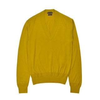 Tom Ford Mens Cashmere Silk Mustard Yellow V Neck Sweater