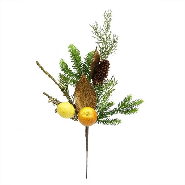 "19"" Autumn Harvest Asheville Fruit Pine and Lemon Artificial Thanksgiving Spray"