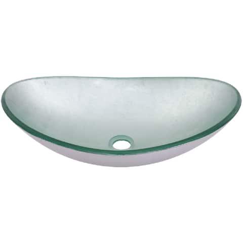 "Miseno MNO032NV-OVAL Painted Foil 21-1/2"" Oval Glass Vessel Bathroom - Silver"