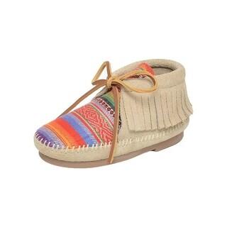 Minnetonka Boots Girls Frisco Ankle Fringe Lace Up Stone