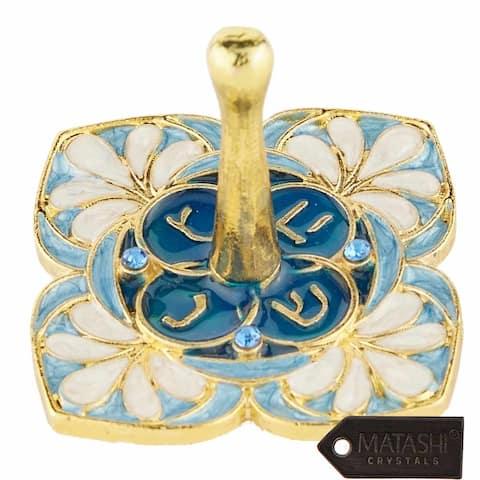 Matashi Hand-Painted Spinning Dreidel Holiday Ornament w Crystal Elegant Jewish Decor Hanging Decoration Gold-Plated, Vintage