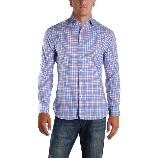 310f2f23063df Shop Polo Ralph Lauren Mens Button-Down Shirt Plaid Slim Fit - M - Free  Shipping Today - Overstock.com - 26385765
