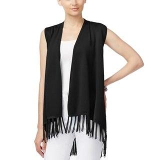 Joseph A. NEW Black Women's Size Medium M Fringe Trim Vest Sweater