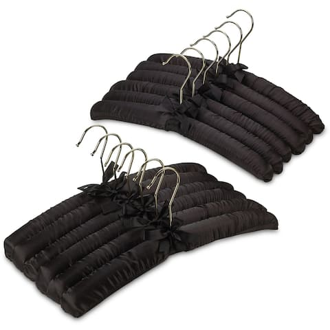 Premium HeavyDuty Thick Satin Padded Hangers Anti Slip - Black, Set of 12