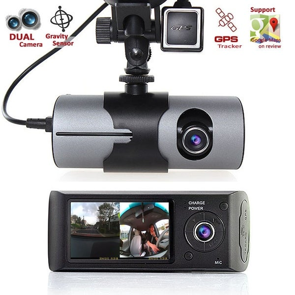 "Indigi® XR300 Car DVR Dual Cameras (Front+Rear) DashCam Driving Recorder with 2.7"" LCD w/ GPS Tracker & 32gb microSD Included"